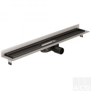 """Трап для душа 585мм ACO ShowerDrain C Black, з вертикальним фланцем, низький сифон, решітка """"Massive"""", AISI 304"""