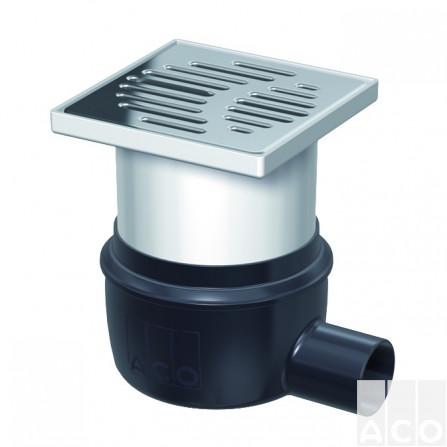 Пластиковий трап EasyFlow 150х150мм із нерж. решіткою, гориз. випуск DN 50
